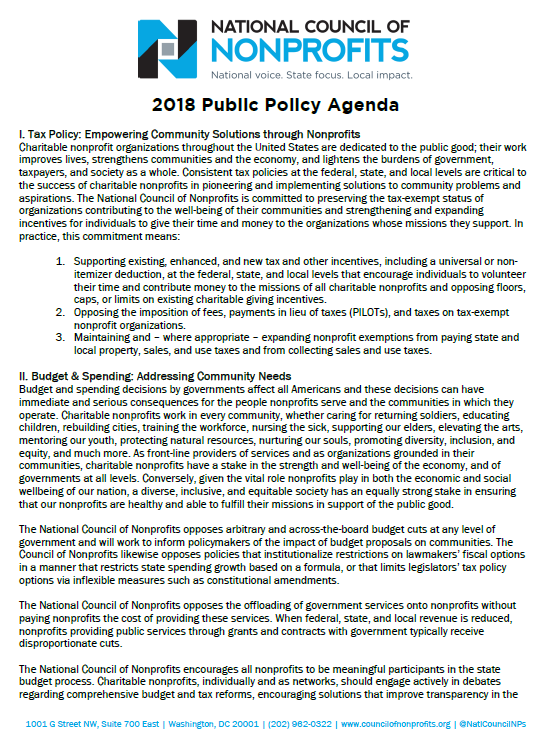 Click the image above to download the 2018 Public Policy Agenda in PDF format