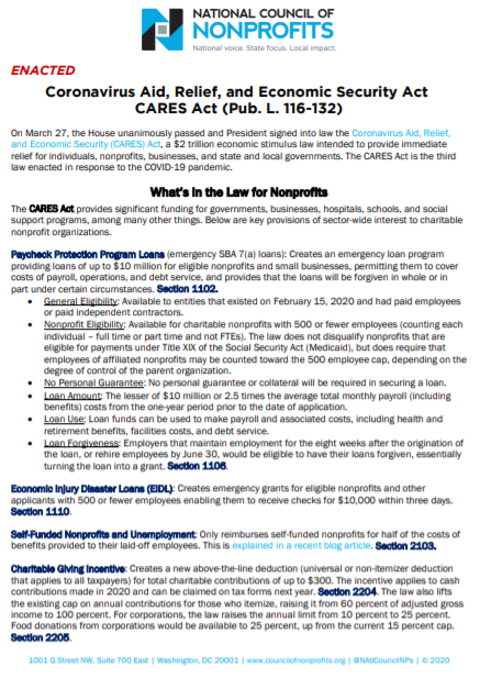 Click the image above to download a PDF of this analysis of the CARES Act